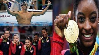 USA Team Win Gold in Rio Olympics 2016 By Michael Phelps, Womens Gymnastics Team & Katie Ledecky